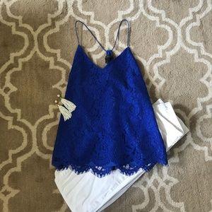 🆕 J. Crew Bright Blue Lace Tank Top